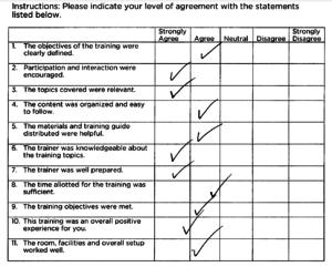 TILOS Software Training Professional- Sample Feedback Form